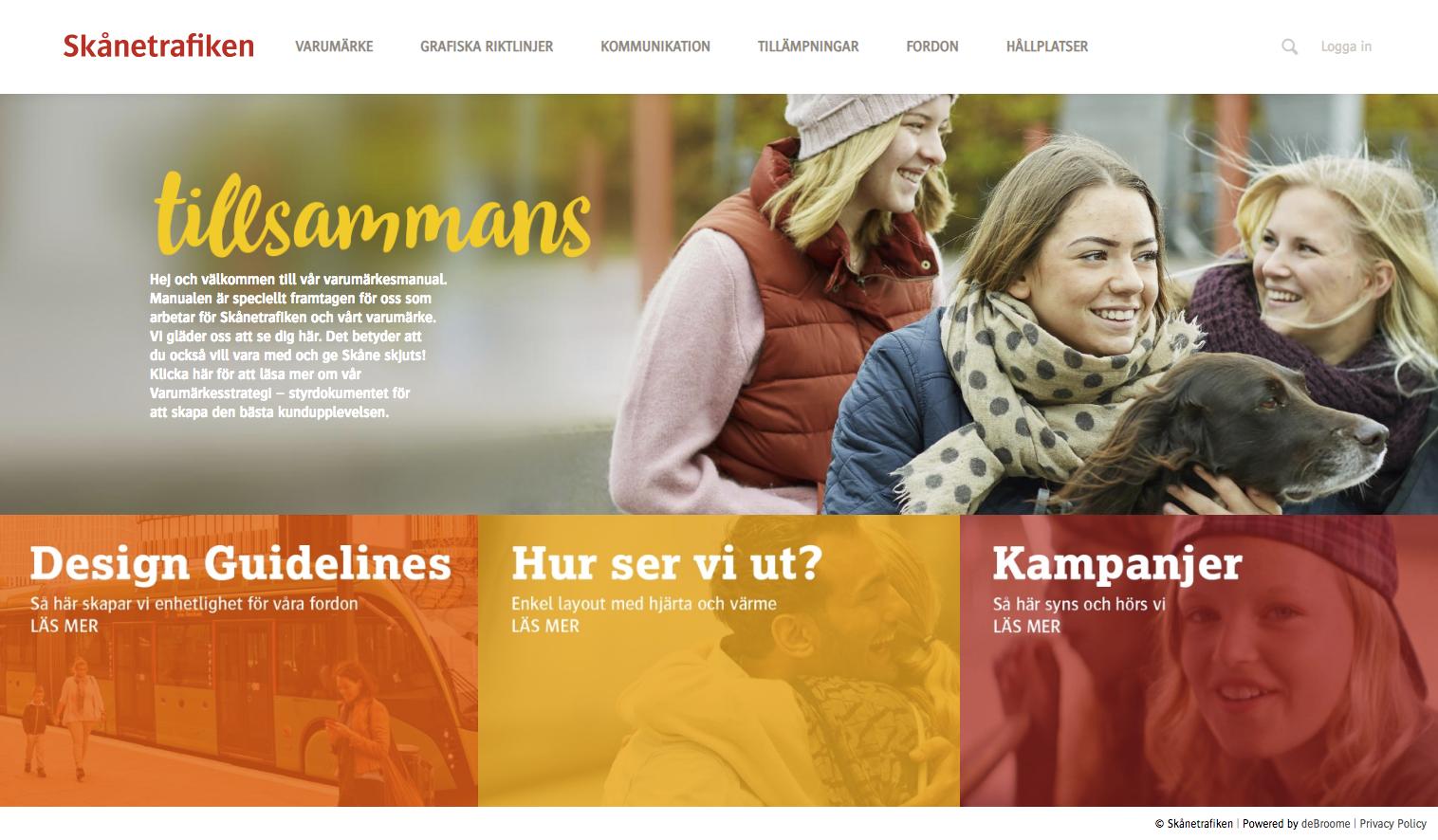 Skanetrafiken homepage with girls smiling