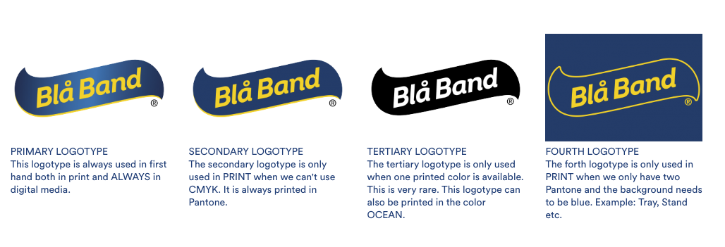 Bla Band's logotypes with blue and white text and black and white text