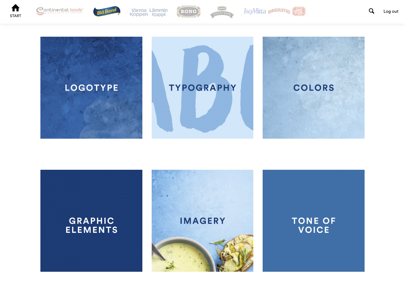 6 blue squares with different branding elements