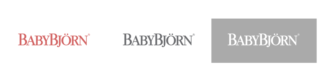 BabyBjörn logos- pink, gray and gray fill logo on online brand manual