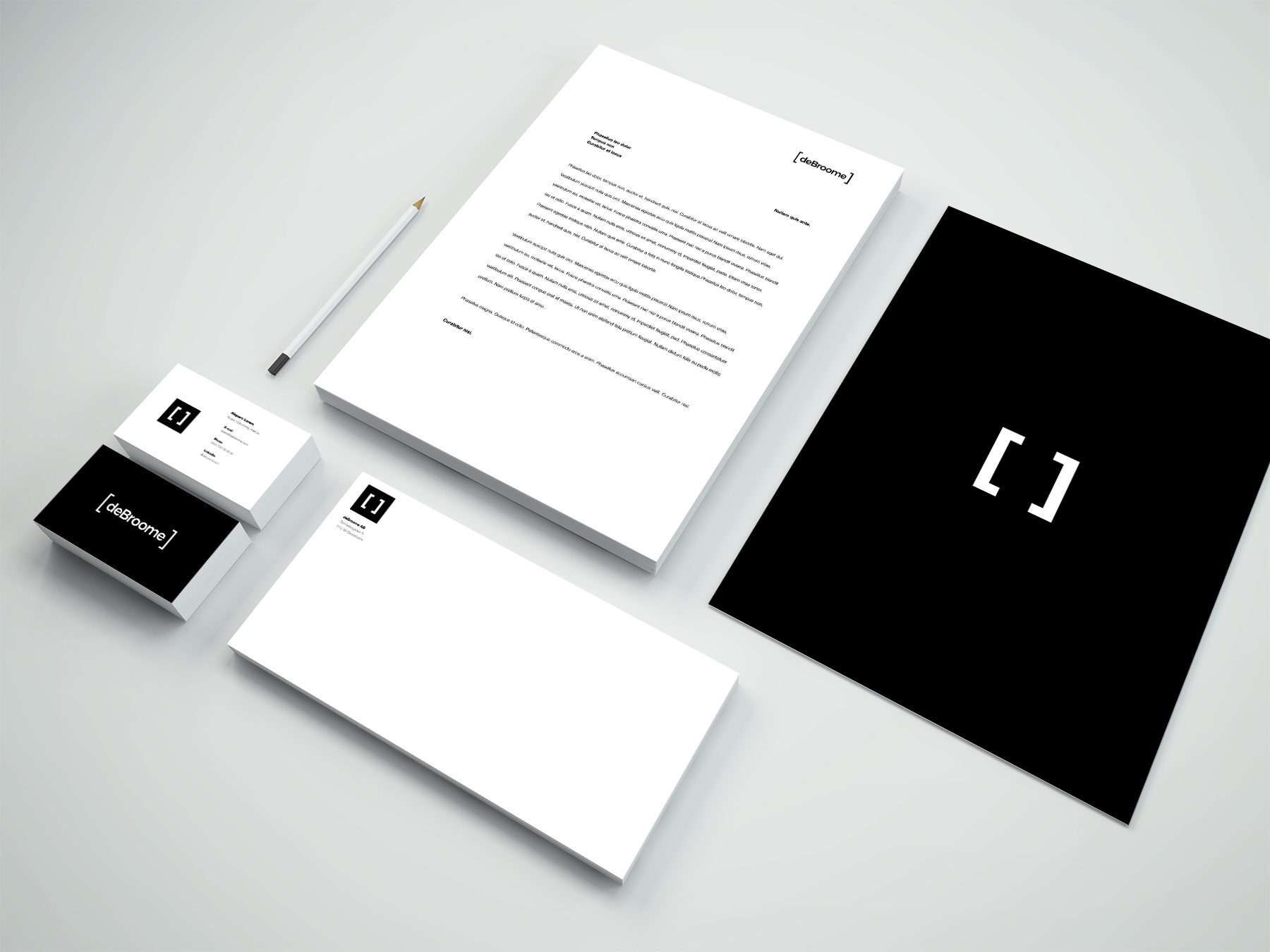 deBroome logos on various documents including envelopes, letters, and business cards