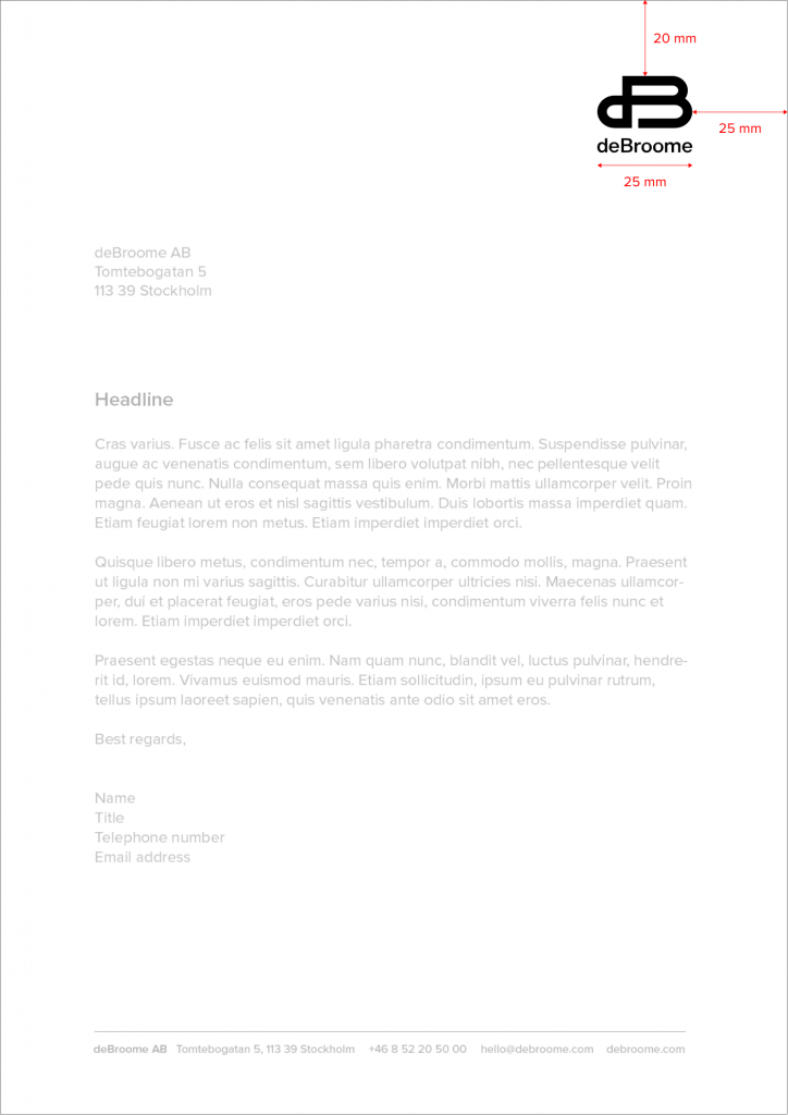 Logotype placement on letterhead