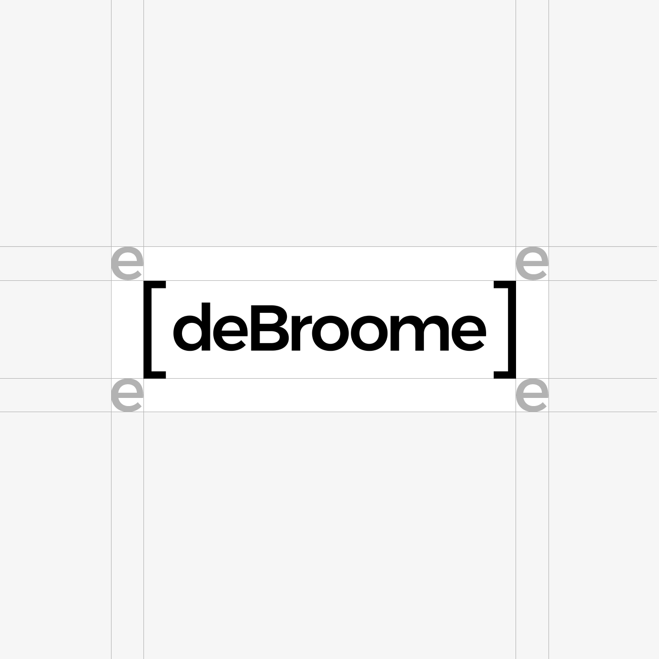 "deBroome logo with clear space rules using the letter ""e"" as a reference"