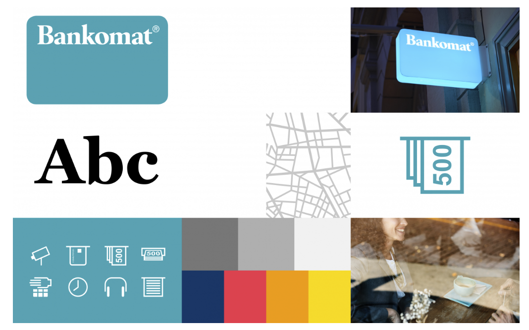 collage of Bankomat pics including multiple colors, typeface and icons used for their digital brand manual