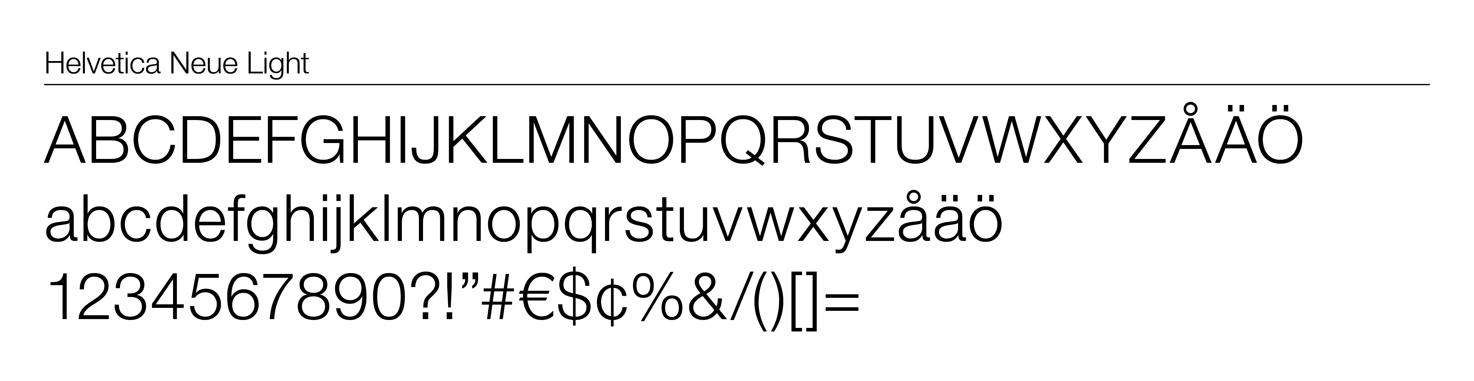 deBroome's default font when not available for digital display in Helevtica Neue Light
