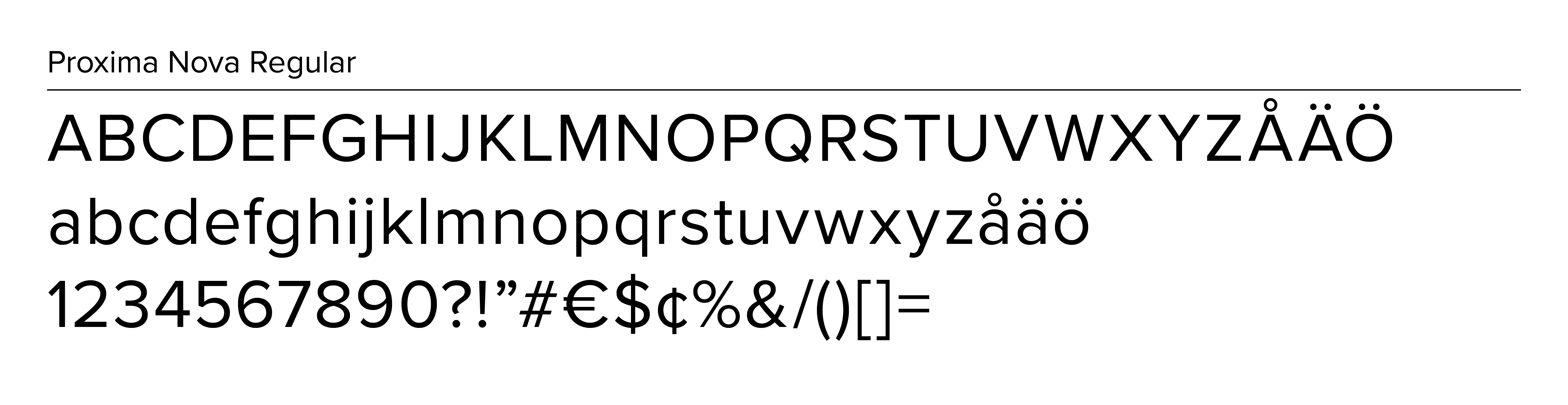 Example of primary font for Proxima Nova Regular