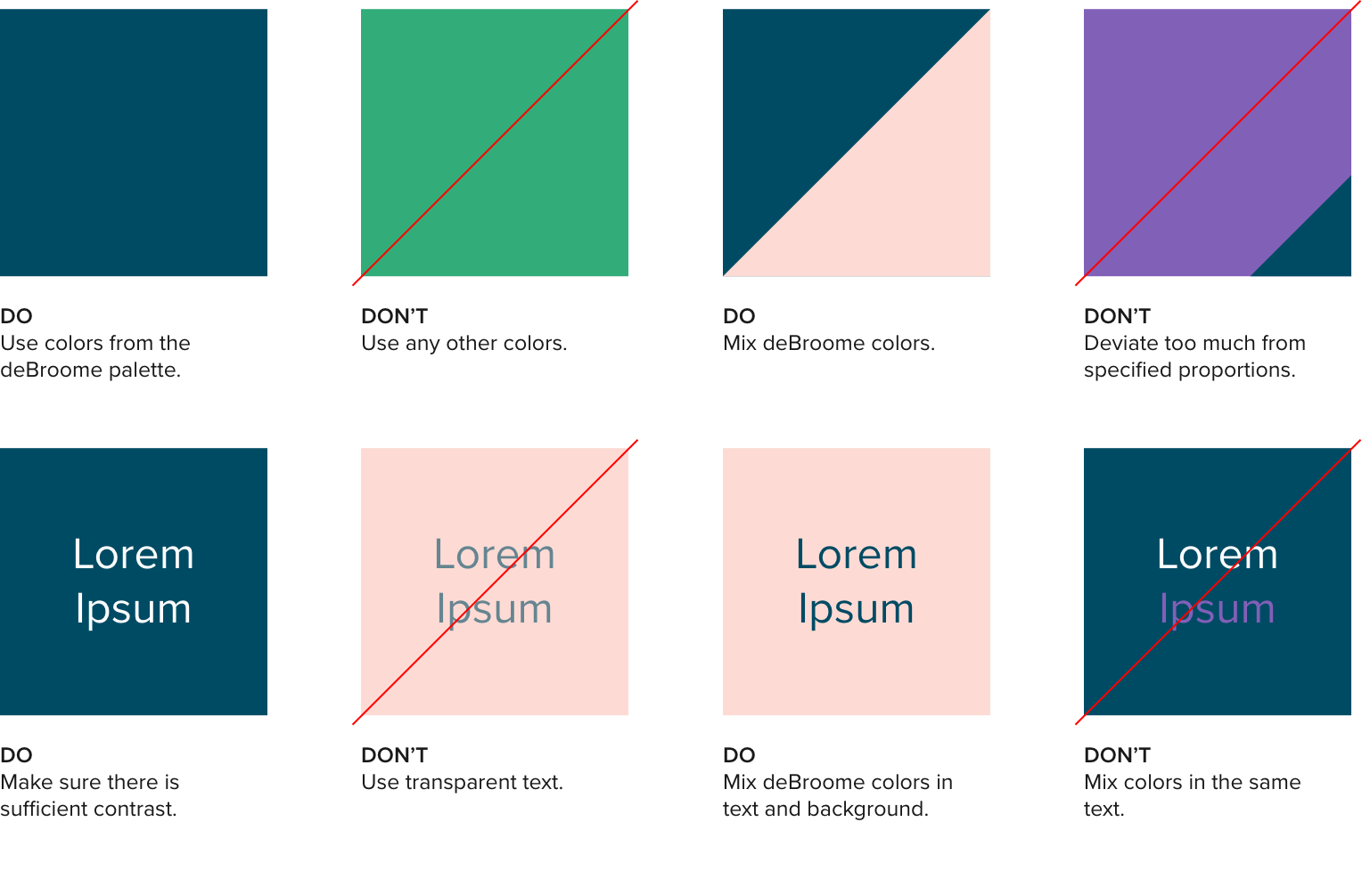deBroome colors showed as examples on when to use and not to use the colors