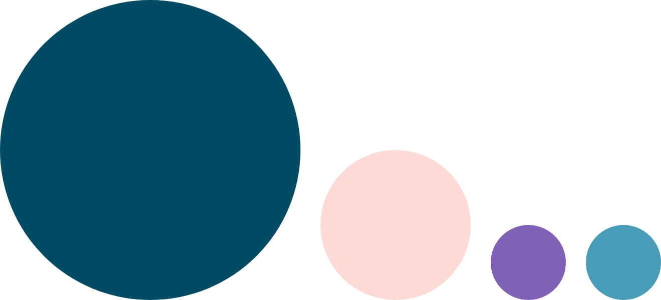 deBroome colors in teal, pink, purple and light blue